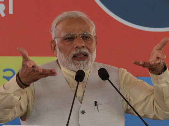Indian Prime Minister Narendra Modi speaks during the