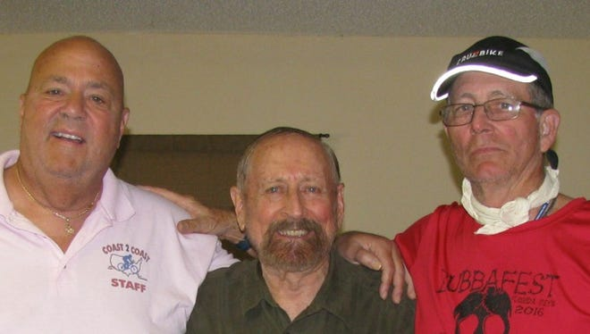 From left are Bubba Barron, owner Bubba's Pampered Pedalers; Ric Lambert, President of the First Aero Squadron Foundation; Robb Myer, retired US Air Force Colonel and NASA transport pilot on this year's southern U.S. Coast 2 Coast bike tour.