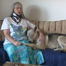 A photo taken from video shows Laura Bowerman with her dog, Sampson.