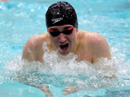 Ben Hayes of Brown Deer/University School competes in the 200-yard individual medley at the state meet Friday night. Hayes won the event.