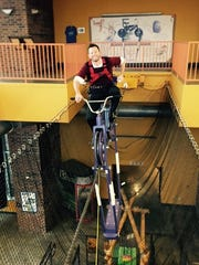 Rob Blevins of the Discovery Center goes for a ride.