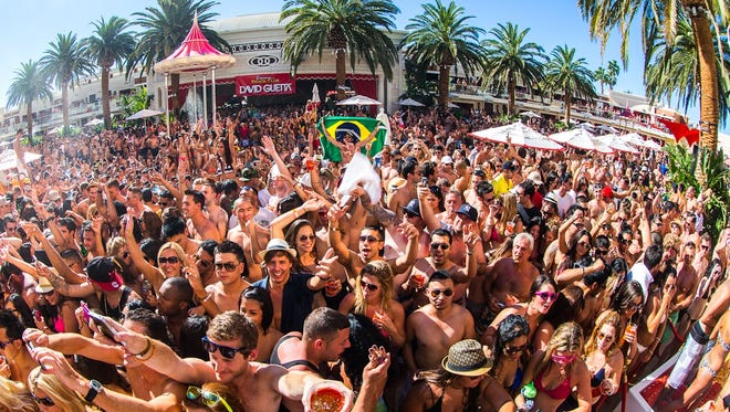 DJs are the new stars on the Vegas pool scene. Here a crowd turns out for David Guetta at Encore Beach Club.