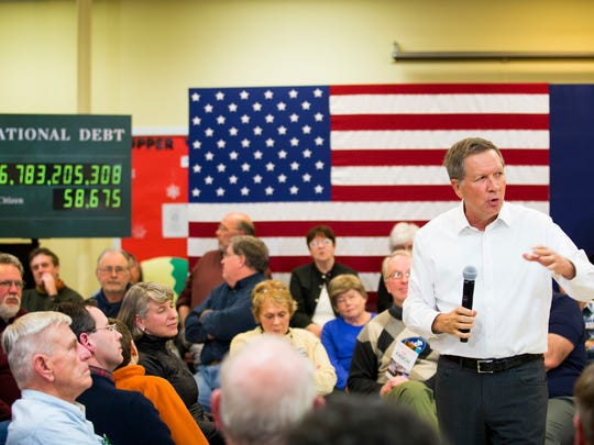 Ohio Governor John Kasich talks to community members at a town hall at Lebanon Senior Center in Lebanon, New Hampshire Monday, January 18, 2016.