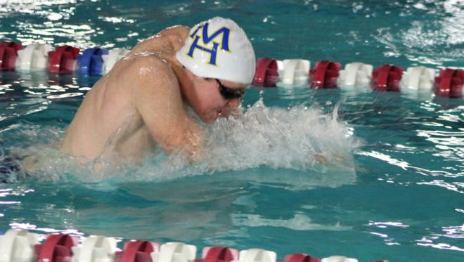 Mountain Home sophomore Hudson Pace swims the breaststroke leg of the medley relay on Monday at Paragould.