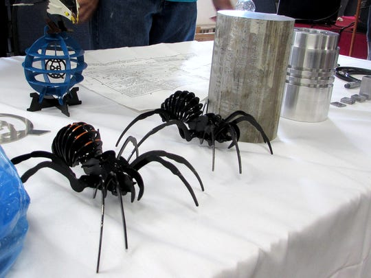 These metal spiders, created to demonstrate what the