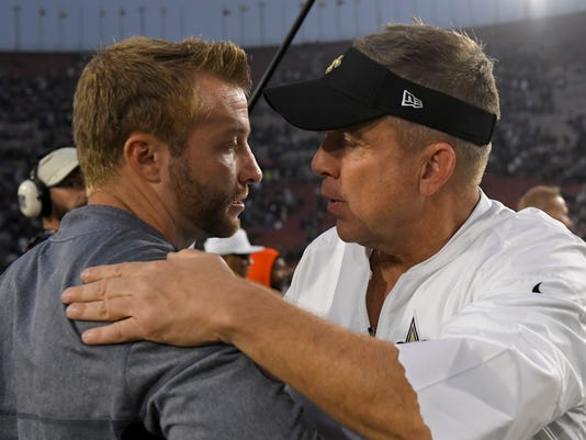 Los Angeles Rams head coach Sean McVay, left, greets New Orleans Saints head coach Sean Payton after their 26-20 win during an NFL football game Sunday, Nov. 26, 2017, in Los Angeles. (AP Photo/Mark J. Terrill)