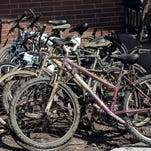 A sample of bicycles pulled out of the Red Cedar River by volunteers during the annual Red Cedar Cleanup is seen on Sunday, April 17, 2016.