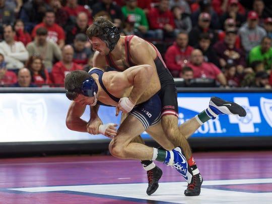 Rutgers' Scott DelVecchio defeats Penn State's Corey Keener in their 133 lbs bout. Rutgers University Wrestling vs Penn State in Piscataway, NJ on January 28, 2018.