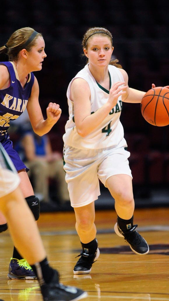 North Star's Olivia Zuchelli drives around Karns City's Emily Hegedus during a PIAA Class AA second-round playoff game earlier this month. North Star will face Neumann-Goretti for the AA girls' state title on Friday. North Star is just one of five public schools in the PIAA finals.