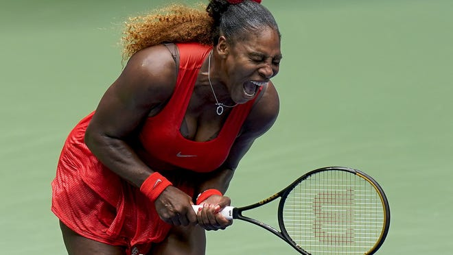 Serena Williams, of the United States, reacts during her quarterfinal match against Tsvetana Pironkova, of Bulgaria, at the U.S. Open Wednesday in New York. Williams won 4-6, 6-3, 6-2 to earn her 11th consecutive appearance in the semifinals.