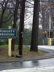 The Route 9W entrance to the Lamont-Doherty Earth Observatory in Palisades.
