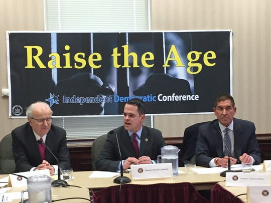 Retired New York State Chief Judge Jonathan Lippman; state Sen. David Carlucci, D-New City; and state Sen. Jeff Klein, D-Bronx, discuss Raise the Age legislation during a Feb. 21 roundtable at Ossining Village Hall.