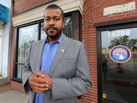 Wayne Bradley is the State Director of African American Engagement. He is photographed outside of the Michigan Republican Party's Detroit office on Tuesday, August 31, 2016.