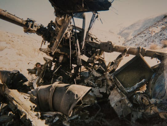 A photo of the wreckage from the CH-53E Super Stallion