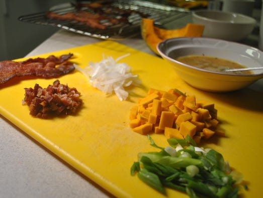 Prep for the kabocha-bacon fried rice. Shown here are