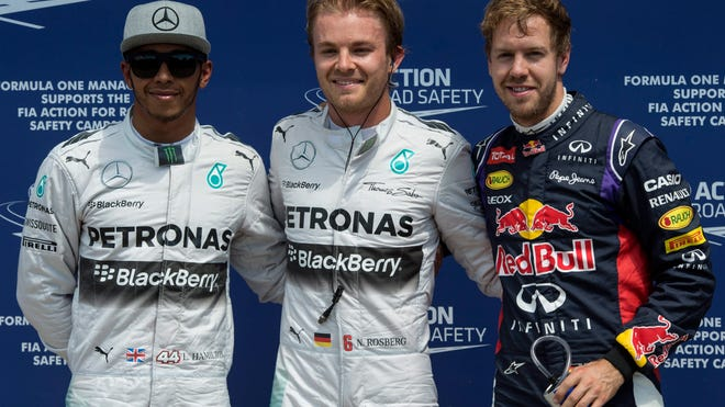 Nico Rosberg, center, Lewis Hamilton, left, and Sebastian Vettel posted the top three qualifying times Saturday for the Canadian Grand Prix.