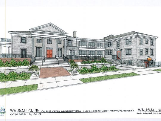 A 2015 drawing from Elk Creek Architectural shows plans for the front of a renovated Wausau Club.