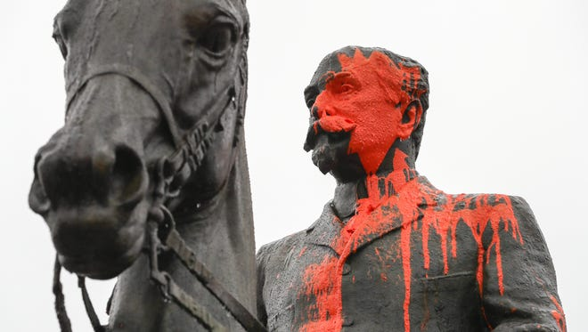 The John B. Castleman statue in Cherokee Triangle was again vandalized with orange paint. The first time happened in August after a violent white supremacist rally in Charlottesville, Virginia. Castleman was a Confederate soldier who later became a general in the U.S. Army. He helped found the city's park system.  February 7, 2018