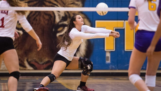 Vero Beach's Lindsay Barkett digs the ball in the third game against Fort Pierce Central at the high school volleyball District 8-9A semifinals Wednesday, Oct. 18, 2017, at Martin County High School in Stuart.