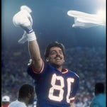 Wide receiver Phil McConkey of the New York Giants celebrates during Super Bowl XXI against the Denver Broncos.