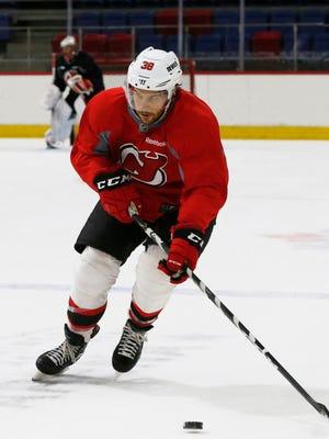 Binghamton Devils forward, Bracken Kearns during Tuesday's practice at Maines Arena on October 3, 2017.