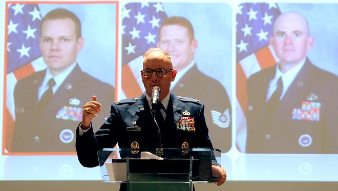Col. Michael Downs, commanding officer of the 17th Training Wing at Goodfellow Air Force Base, speaks at the San Angelo Chamber of Commerce luncheon Tuesday, March 21.