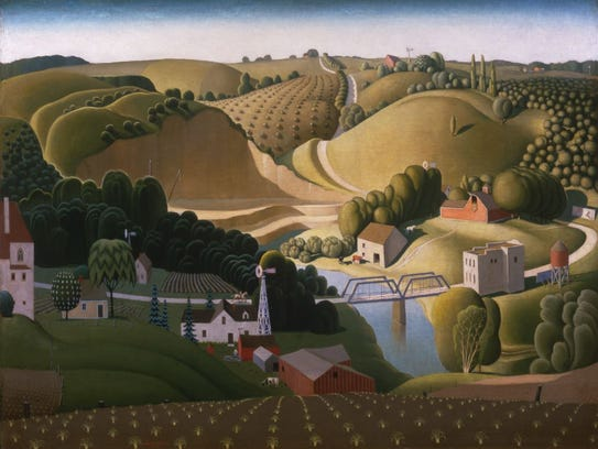 """""""Stone City"""" by Grant Wood."""