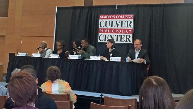 A panel speaks during a day-long forum about criminal justice reform in Iowa held at Simpson last week. Speakers are Iowa Rep. Ako Abdul-Samad, Iowa Rep. Helen Miller, Betty Andrews with NAACP,  Grandview criminal justice professor Ahmadu Baba-Singhri and Tom Newkirk, a local civil rights attorney.