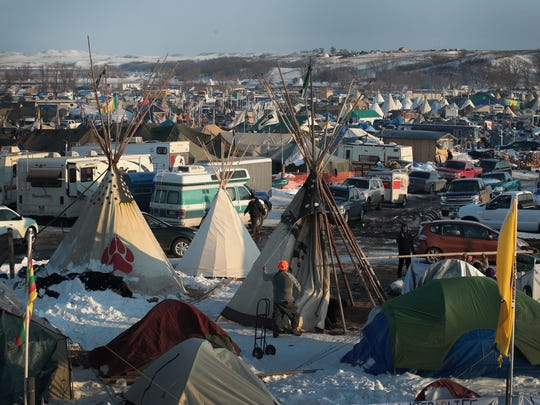 The Oceti Sakowin Camp on the edge of the Standing Rock Sioux Reservation, outside Cannon Ball, N.D., shown in December. Native Americans and activists from around the country were able to halt the construction of the Dakota Access Pipeline, though likely only temporarily.
