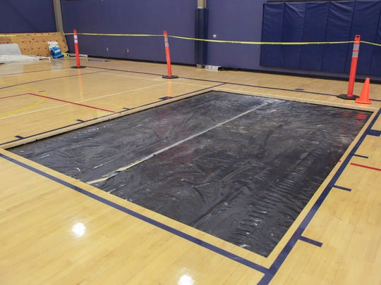 The gymnasium at Desert Chapel Christian School is still recovering from flooding damage sustained in the September 9th rainstorm, October 16, 2017.
