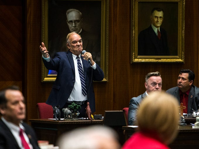 Rep. Don Shooter gives a statement during a vote on