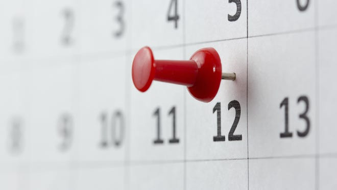 Appointments marked on calendar