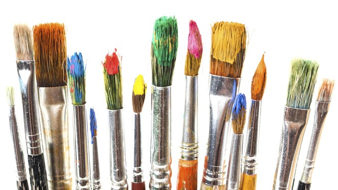 Art oily paint and brushes
