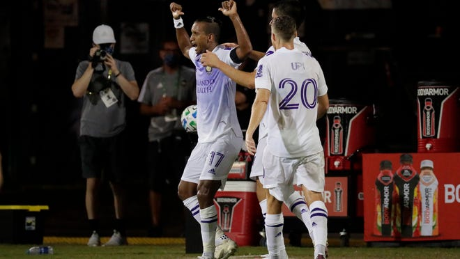 Orlando City forward Nani celebrates after scoring against the Minnesota United during the first half of an MLS soccer match, Thursday, Aug. 6, 2020, in Kissimmee, Fla.