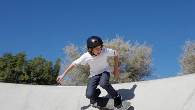 Helmets should always be worn by adults and children when riding bicycles, scooters or skateboards.