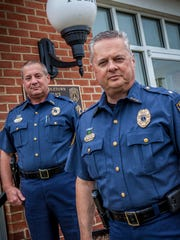 Middletown Police Chief Henry V. Tobin III (front) is handing the reins over to Capt. Daniel Yeager later this month.