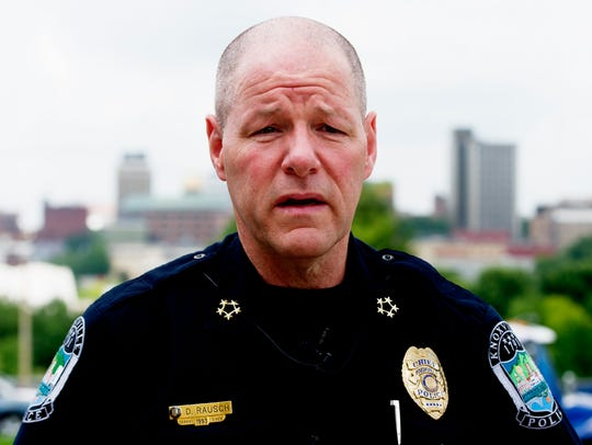 Knoxville Police Chief David Rausch holds a press conference