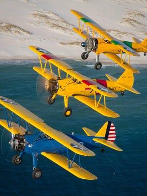 Stearmans flying over Pensacola Beach.