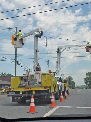 There was a lot of activity at the Hillcrest intersection on old Lincolnway East as the traffic lights were replaced Wednesday afternoon.
