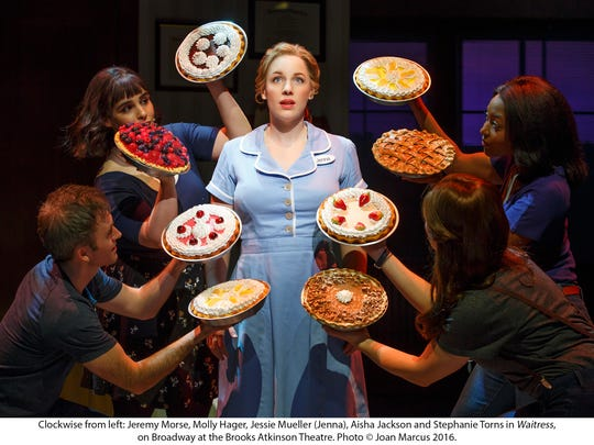 "Jessie Mueller, center, stars as Jenna in the Broadway production of ""Waitress."" The show, which is part of the Broadway in Cincinnati 2017-2018 subscription series announced on Feb. 6, is expected to be the sleeper hit of the season. Photo: Joan Marcus."