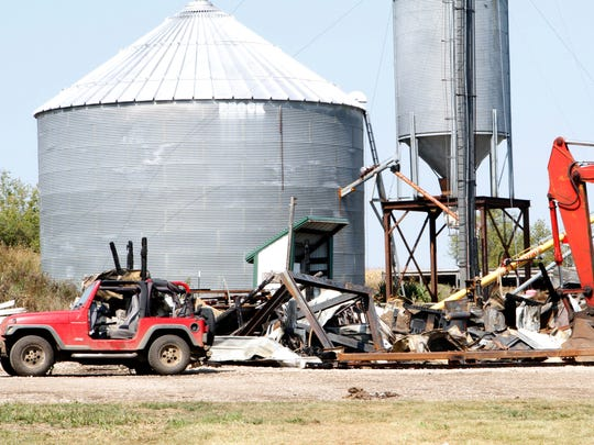 Burnt timbers stand among the rubble remaining from a fire at a farm on Maple Avenue in the Town of Vernon on Sept. 14. Mutual aid was called to assist with battling the fire, which happened around 3 p.m.