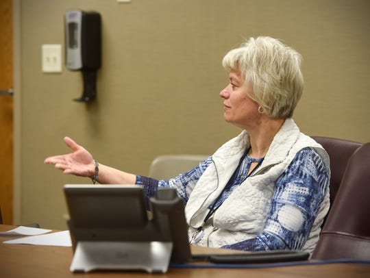 Lab supervisor Patricia Leyk talks about her work Friday,