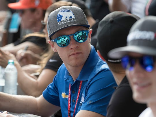 Ed Carpenter Racing IndyCar driver Spencer Pigot (21) signs autographs for the fans during Legends Day at the Indianapolis Motor Speedway on Saturday, May 26, 2018.