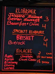 The menu board at Texas Doughboys on Aug. 30, 2017,