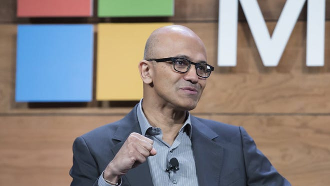 Microsoft CEO Satya Nadella, shown here at the company's shareholder meeting in December 2015.