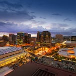 A view of downtown Phoenix at night.