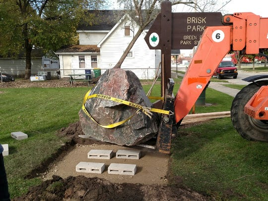 The rock commemorating Capt. Harold Brisk is placed at the park bearing his name.