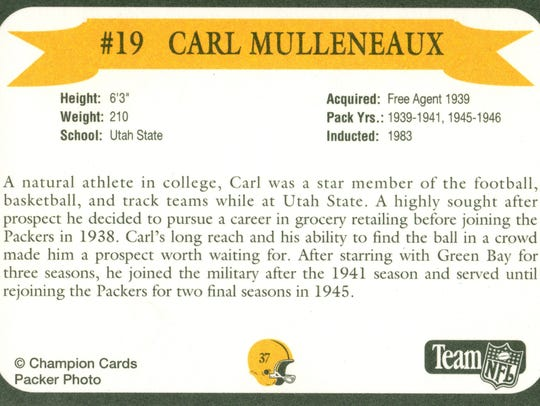 Packers Hall of Fame player Carl Mulleneaux