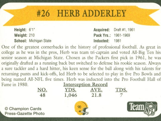 Packers Hall of Fame player Herb Adderley