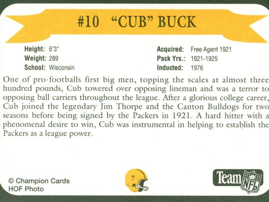 Packers Hall of Fame player Cub Buck